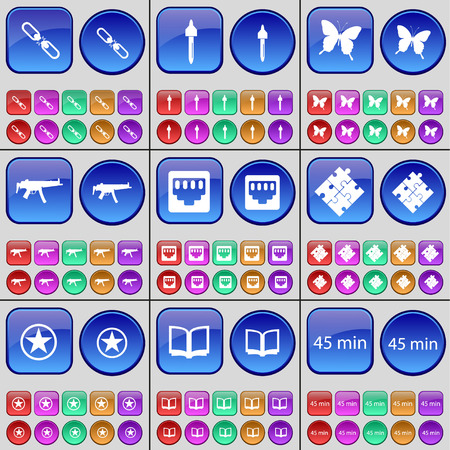 lan: Link, Pipette, Butterfly, Semi, LAN socket, Puzzle, Star, Book, 45 minutes. A large set of multi-colored buttons. Vector illustration