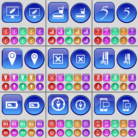 checkpoint: Monitor, Fast food, Five, Checkpoint, Stop, Haircut, Battery, Compass, SMS. A large set of multi-colored buttons. Vector illustration Illustration