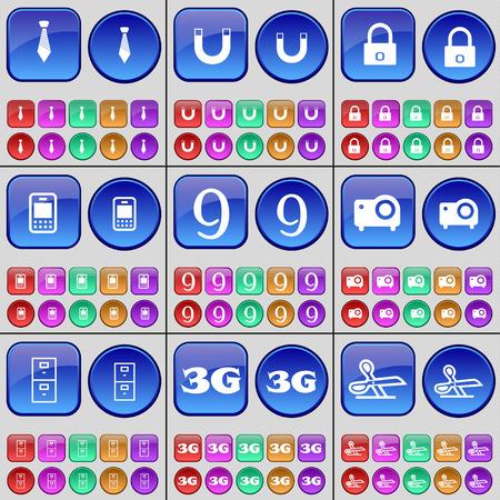 3g: Tie, Magnet, Lock, Mobile phone, Nine, Projector, Archive, 3G, Scissors. A large set of multi-colored buttons. Vector illustration Illustration