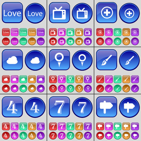 checkpoint: Love, TV, Plus, Cloud, Checkpoint, Brush, Four, Seven, Sign. A large set of multi-colored buttons. Vector illustration