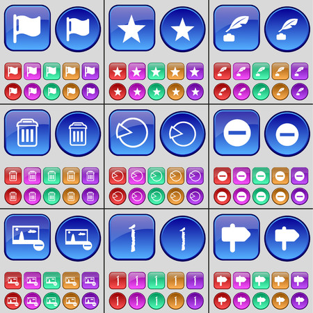 ink pot: Flag, Star, Ink pot, Trash can, Diagram, Minus, Picture, I, Sign. A large set of multi-colored buttons. Vector illustration