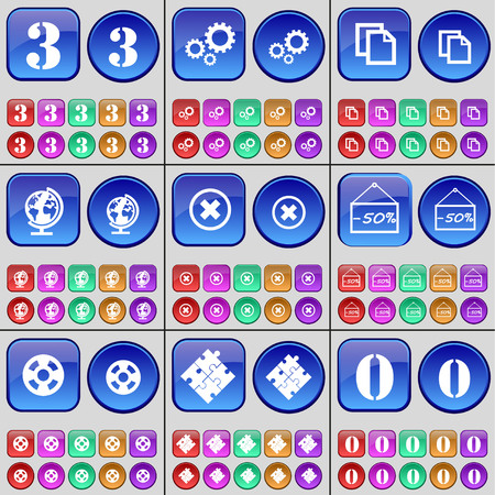 puzzle globe: Three, Gear, Copy, Globe, Stop, Discount, Videotape, Puzzle, Zero. A large set of multi-colored buttons. Vector illustration