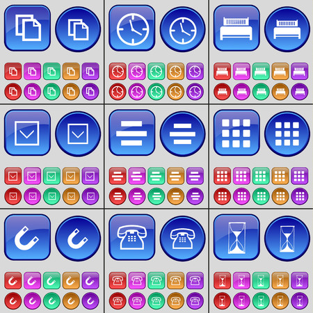 freccia giù: Copy, Clock, Bed, Arrow down, List, Apps, Magnet, Phone, Hourglass. A large set of multi-colored buttons. Vector illustration