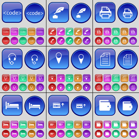 checkpoint: Code, Ink pen, Printer, Headphones, Checkpoint, Text file, Bed, Cassette, Wallet. A large set of multi-colored buttons. Vector illustration