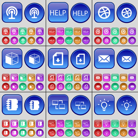 file box: Wi-Fi, Help, Ball, Box, File, Message, Notebook, Connection, Light bulb. A large set of multi-colored buttons. Vector illustration