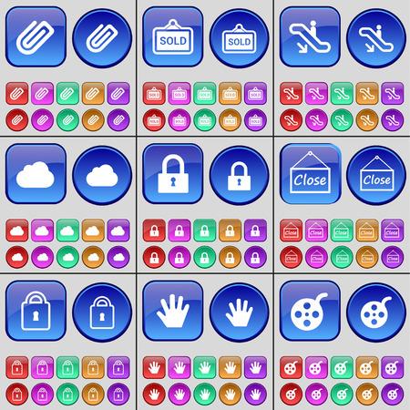 videotape: Clip, Sold, Escalator, Cloud, Lock, Close, Hand, Videotape. A large set of multi-colored buttons. Vector illustration Illustration