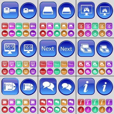 disco duro: Cinta m�trica, del disco duro, monitor, Siguiente, Fax, MP3, Chat, Informaci�n. Un gran conjunto de botones multicolores. Ilustraci�n vectorial