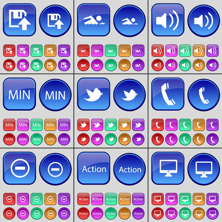 min: Floppy disk, Swimmer, Sound, Min, Bird, Receiver, Minus, Action, Monitor. A large set of multi-colored buttons. Vector illustration