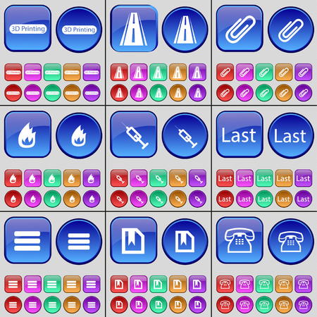 retro telefon: 3D Printing, Road, Clip, Fire, Syringe, Last, Apps, File, Retro phone. A large set of multi-colored buttons. Vector illustration Illustration