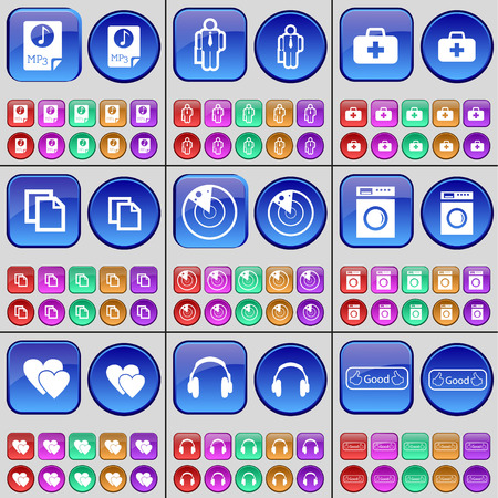 firstaid: MP3, Silhouette, First-aid kit, Copy, Radar, Washing machine, Hearts, Headphones, Like. A large set of multi-colored buttons. Vector illustration Illustration