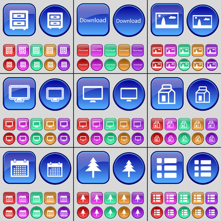 bedtable: Bed-table, Download, Picture, Monitor, Package, Calendar, Firtree, List. A large set of multi-colored buttons. Vector illustration