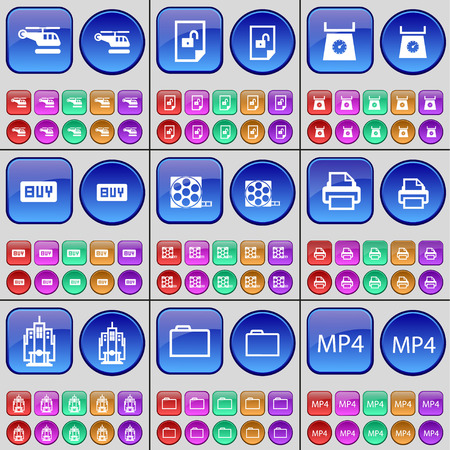 mp4: Helicopter, File, Scales, Buy, Videotape, Printer, Building, Folder, MP4. A large set of multi-colored buttons. Vector illustration