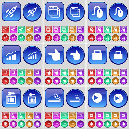 skip: Rocket, Window, Mouse, Graph, hand, Lock, Vault, Cigarette, Media skip. A large set of multi-colored buttons. Vector illustration