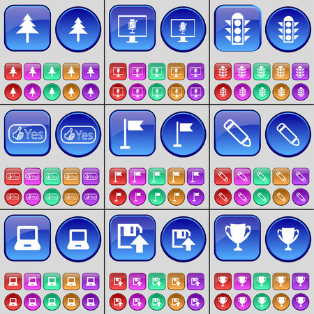 trafic: Fir tree, Monitor, Trafic lights, Like, Golf hole, Pencil, Laptop, Floppy disk, Cup. A large set of multi-colored buttons. Vector illustration