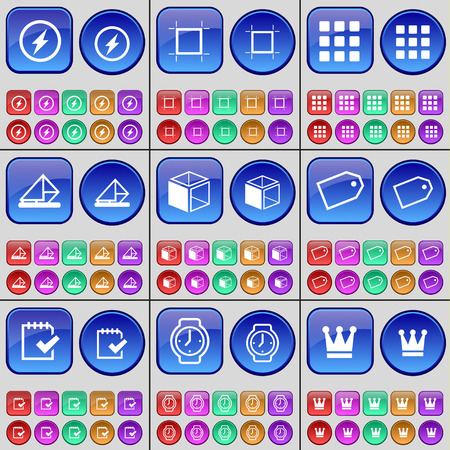 message box: Flash, Frame, Apps, Message, Box, Tag, Survey, Wrist watch, Crown. A large set of multi-colored buttons. Vector illustration