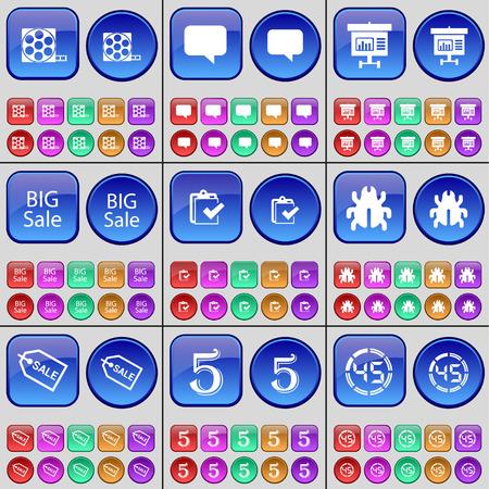 videotape: Videotape, Chat bubble, Diagram, Big Sale, Survey, Bug, Sale, Five, Countdown. A large set of multi-colored buttons. Vector illustration