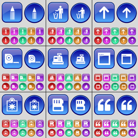 sim card: Pencil, Silhouette, Arrow up, Tape measure, Cash register, Window, Packet, SIM card, Quotation mark. A large set of multi-colored buttons. Vector illustration
