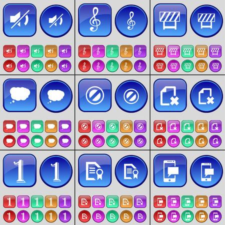 chat bubble: Mute, Clef, Barrier, Chat bubble, Stop, File, One, Text file, SMS. A large set of multi-colored buttons. Vector illustration