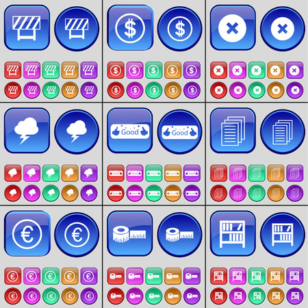 barrier tape: Barrier, Dollar, Stop, Cloud, Like, Text files, Euro, Tape measure, Book shelf. A large set of multi-colored buttons. Vector illustration