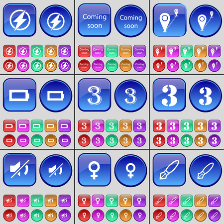 venus symbol: Flash, Coming soon, Route, Battery, Three, Mute, Venus symbol, Ink pen. A large set of multi-colored buttons. Vector illustration