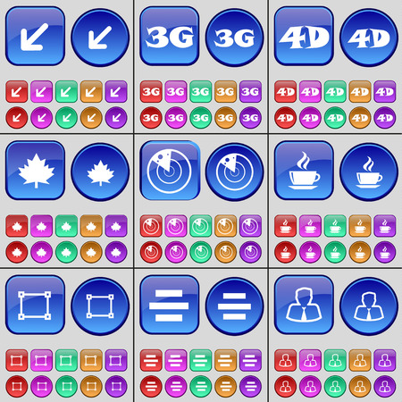 3g: Deploying screen, 3G, 4G, Maple leaf, Radar, Coffee, Frame, List, Avatar. A large set of multi-colored buttons. Vector illustration