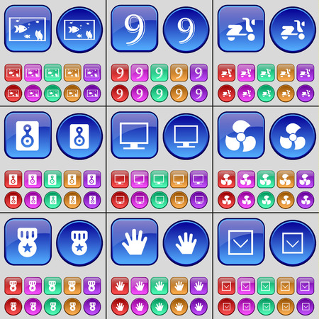 freccia giù: Aquarium, Nine, Scooter, Speaker, Monitor, Screw, Medal, Hand, Arrow down. A large set of multi-colored buttons. Vector illustration Vettoriali