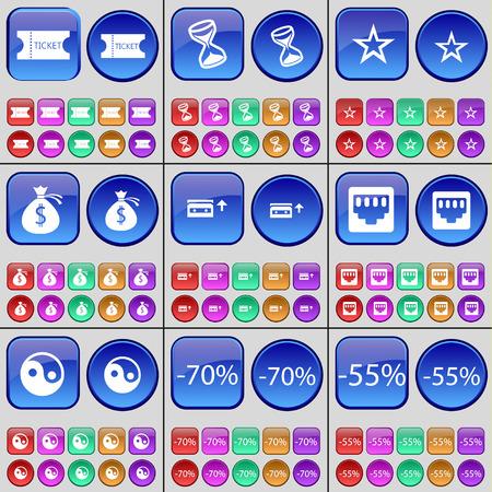 lan: Ticket, Hourglass, Star, Money bag, Cassette, LAN socket, Yin-Yang, Discount. A large set of multi-colored buttons. Vector illustration