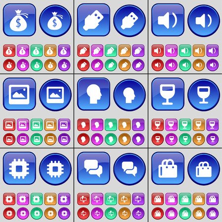 chat window: Money bag, USB, Sound, Window, Silhouette, Wineglass, Processor, Chat, Shopping bag. A large set of multi-colored buttons. Vector illustration