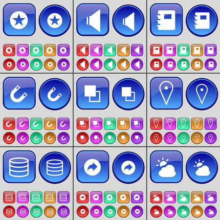 checkpoint: Star, Sound, Notebook, Magnet, Copy, Checkpoint, Database, Back, Cloud. A large set of multi-colored buttons. Vector illustration