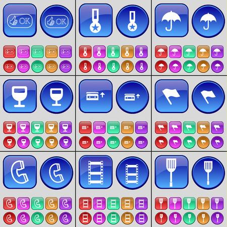 medal like: Like, Medal, Umbrella, Wineglass, Cassette, Flag, Receiver, Negative films, Padle. A large set of multi-colored buttons. Vector illustration Illustration