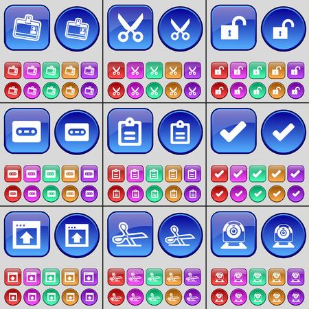 webcamera: Contact, Scissors, Lock, Cassette, Survey, Tick, Window, Scissors, Web-camera. A large set of multi-colored buttons. Vector illustration