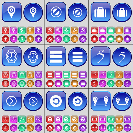 checkpoint: Checkpoint, Stop, Suitcase, Wrist watch, Apps, Five, Arrow right, Reload, Route. A large set of multi-colored buttons. Vector illustration