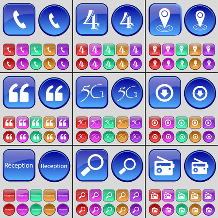 checkpoint: Receiver, Four, Checkpoint, Quotation mark, 5G, Arrow down, Reception, Magnifying glass, Radio. A large set of multi-colored buttons. Vector illustration