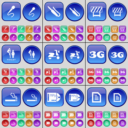 3g: Microphone, Connector, Road barrier, Toilet, Scooter, 3G, Cigarette, MP3, Text file. A large set of multi-colored buttons. Vector illustration