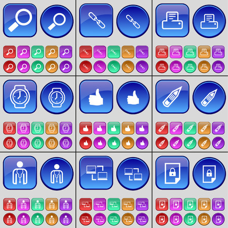 watch glass: Magnifying glass, Link, Printer, Wrist watch, Like, Pencil, Avatar, Connection, File. A large set of multi-colored buttons. Vector illustration Illustration