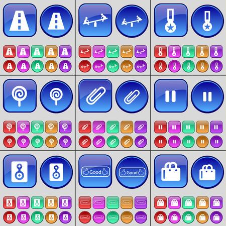 medal like: Road, Swing, Medal, Lollipop, Clip, Pause, Speaker, Like, Shopping bag. A large set of multi-colored buttons. Vector illustration