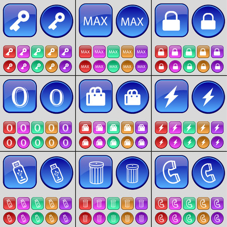 max: Key, Max, Lock, Zero, Shopping bag, Flash, USB, Trash can, Receiver. A large set of multi-colored buttons. Vector illustration