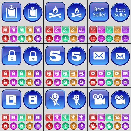 best seller: Survey, Campfire, Best Seller, Lock, Five, Message, Switch, Checkpoint, Film. A large set of multi-colored buttons. Vector illustration Illustration