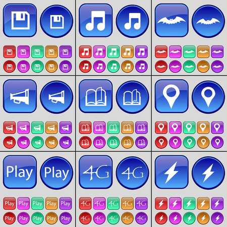4g: Floppy disk, Note, Bat, Megaphone, Book, Checkpoint, Play, 4G, Flash. A large set of multi-colored buttons. Vector illustration