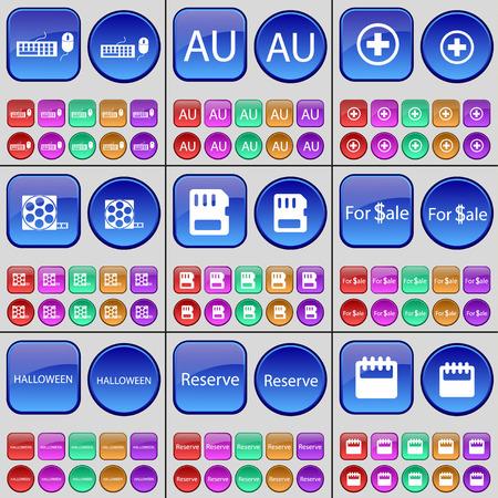 sim card: Keyboard, AU, Plus, Videotape, SIM card, For Sale, Halloween, Reserve, Calendar. A large set of multi-colored buttons. Vector illustration Illustration