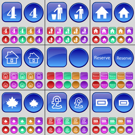 large house: Four, Silhouette, House, House, Reserve, Maple, Pound, Battery. A large set of multi-colored buttons. Vector illustration