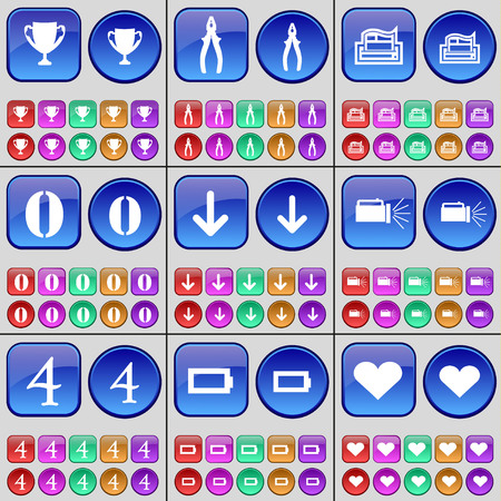 cup four: Cup, Pliers, Printer, Zero, Arrow down, Flashlight, Four, Battery, Heart. A large set of multi-colored buttons. Vector illustration