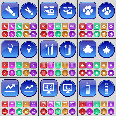 checkpoint: Rocket, Helicopter, Paw, Checkpoint, Trash can, Maple leaf, Graph, Monitor, Mobile phone. A large set of multi-colored buttons. Vector illustration