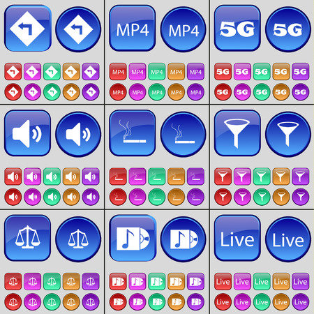 sprinkle: Bend left, MP4, 5G, Sound, Cigarette, Sprinkle, Scales, Disk, Live. A large set of multi-colored buttons. Vector illustration