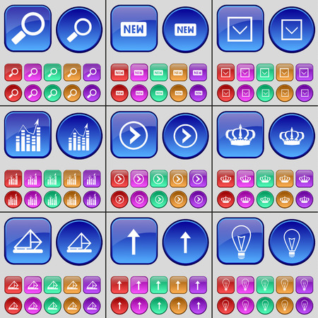 new arrow: Magnifying glass, New, Arrow down, Graph, Arrow right, Crown, Message, Arrow up, Light bulb. A large set of multi-colored buttons. Vector illustration