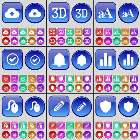 알림: Cloud, 3D, Font, Tick, Notification, Diagram, Mouse, Pencil, Badge. A large set of multi-colored buttons. Vector illustration