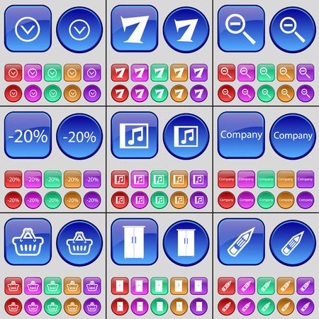 freccia giù: Arrow down, Seven, Magnifying glass, Discount, Music file, Company, Basket, Cupboard, Pencil. A large set of multi-colored buttons. Vector illustration