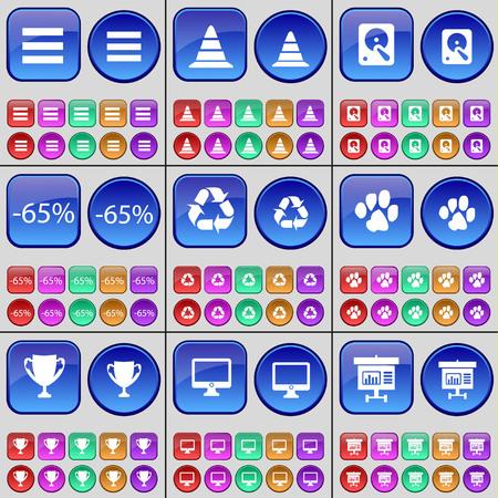 disco duro: Lista, Cono, Disco duro, Descuento, Reciclaje, Pata, Copa, Monitor, Diagrama. Un gran conjunto de botones multicolores. ilustración vectorial Vectores
