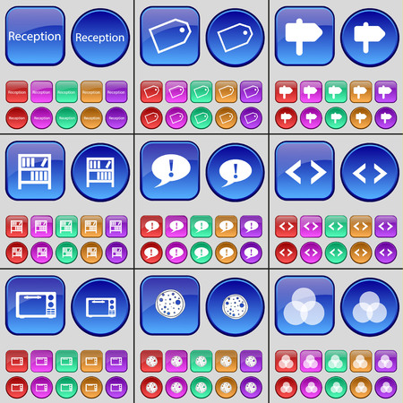 rgb: Reception, Tag, Sign, Bookshelf, Chat bubble, Code, Microwave, Pizza, RGB. A large set of multi-colored buttons. Vector illustration Illustration