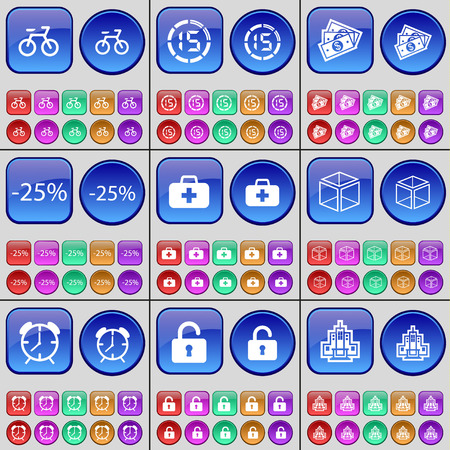 firstaid: Bicycle, Countdown, Money, Discount, First-aid kit, Box, Alarm clock, Lock, Building. A large set of multi-colored buttons. Vector illustration